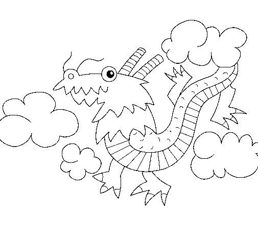 Dibujo de Dragón chino 1 para Colorear