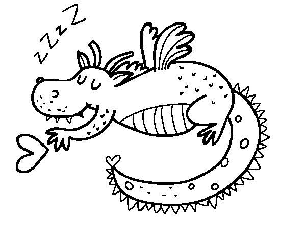 Dibujo de Dragón infantil durmiendo para Colorear ...
