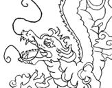 Dibujo de Dragón japonés para colorear