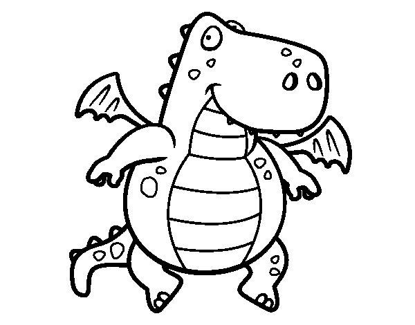 Dibujo de Dragón volador para Colorear