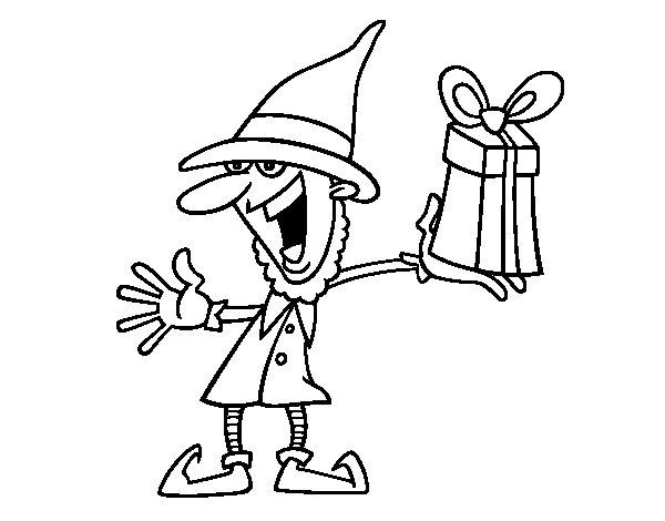 Dibujo de Duende de Navidad para Colorear