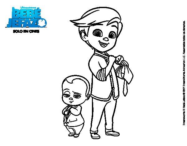 Dibujo de El Bebé Jefazo y Tim Templeton para Colorear
