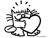Dibujo de El gato y el corazón para colorear