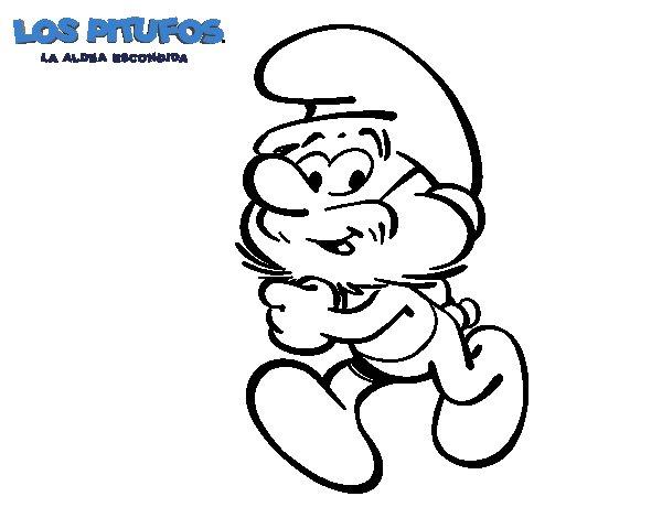 Dibujo de El Papá Pitufo para Colorear