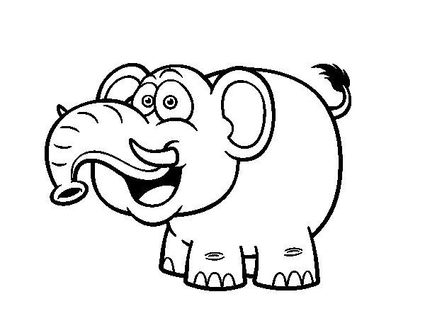 Dibujo de Elefante asiático para Colorear - Dibujos.net