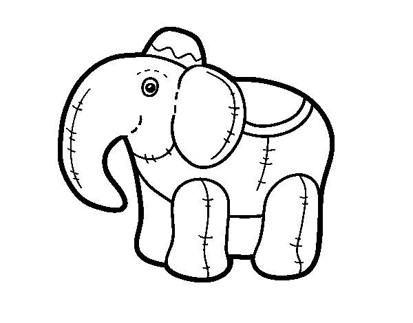 Dibujos Para Colorear De Elefantes Infantiles: Dibujo De Elefante De Trapo Para Colorear