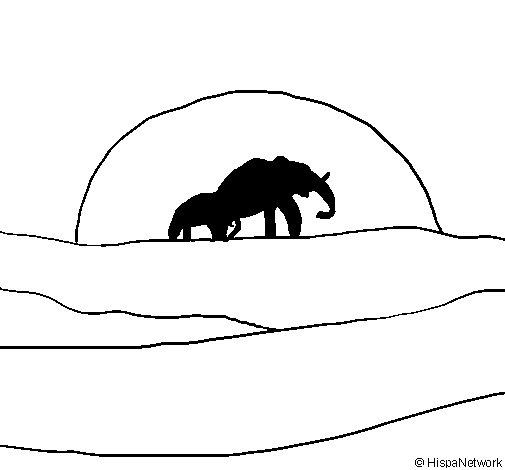 Dibujo de Elefante en el amanecer para Colorear