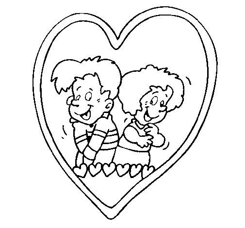 Dibujo de Enamorados dentro de un corazón para Colorear