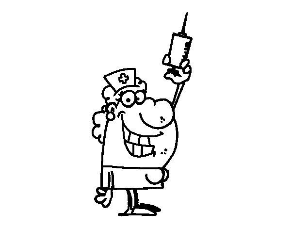 Dibujos De Medicos Para Colorear E Imprimir: Dibujo De Enfermera Con Una Aguja Para Colorear