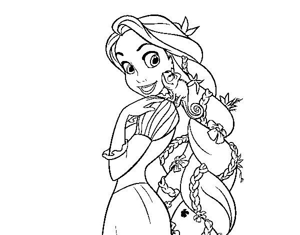 Dibujo de Enredados - Rapunzel y Pascal para Colorear - Dibujos.net