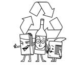 Dibujo de Envases para reciclar para colorear