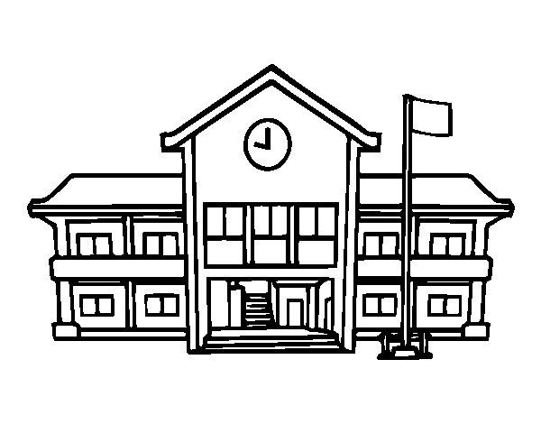 Dibujo de Escuela para Colorear - Dibujos.net