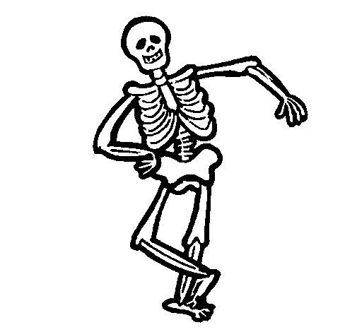 Dibujo de Esqueleto contento para Colorear - Dibujos.net