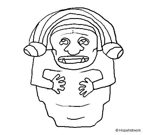 Dibujo de Estatua demonio maya para Colorear
