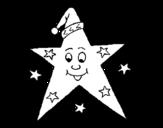 Dibujo de Estrella con gorro para colorear