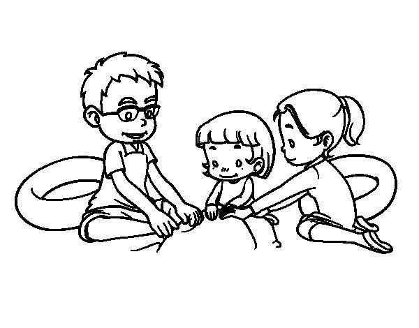 Dibujo de Familia en la playa para Colorear