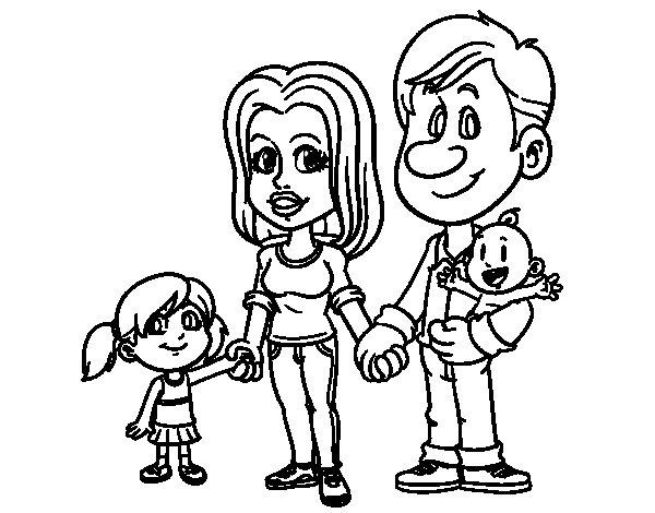 Dibujo de Familia feliz para Colorear
