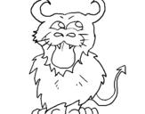 Dibujo de Felino con cuernos para colorear