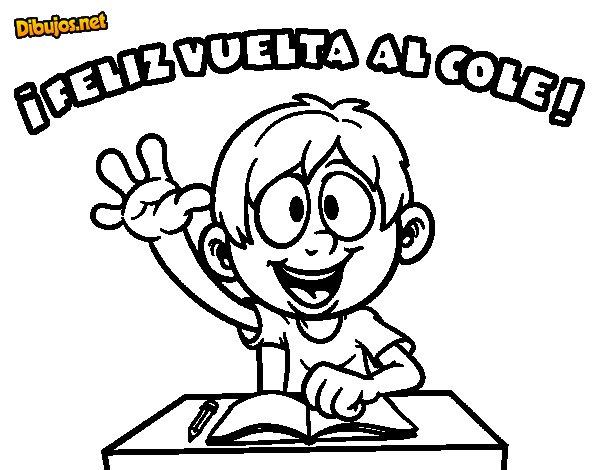 Pinto Dibujos Imagenes De Niños Felices Leyendo Para: Dibujo De Feliz Vuelta Al Cole Para Colorear