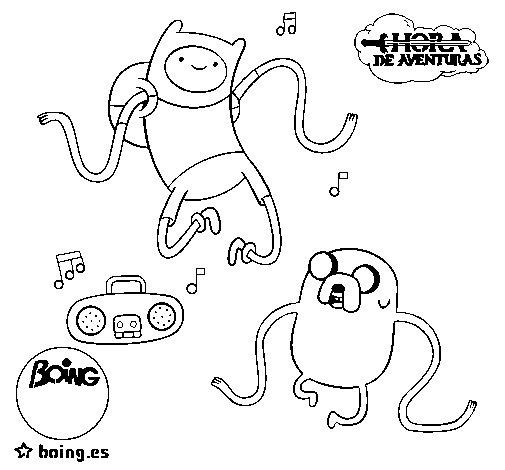 Dibujo de Finn y Jake escuchando música para Colorear