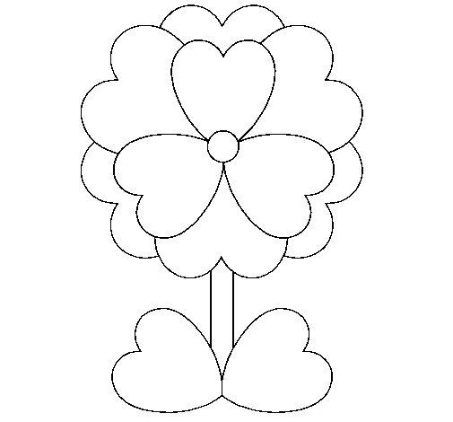 Dibujo de Flor de corazones para Colorear