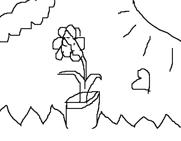 Dibujo de Flor en las nubes para Colorear