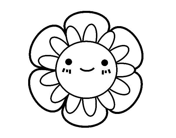 Dibujos Para Colorear De Flora: Dibujo De Flor Infantil Para Colorear