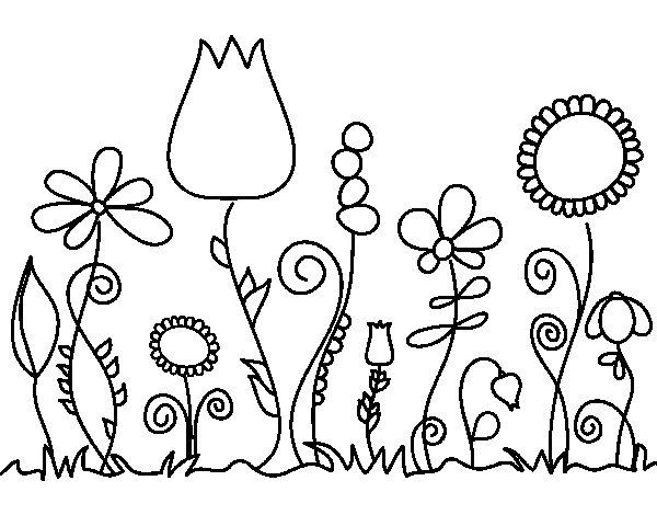 Dibujos Para Colorear De Flora: Dibujo De Flores Del Bosque Para Colorear