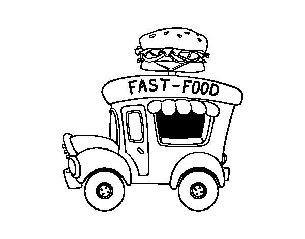 Dibujo de Food truck de hamburguesas para Colorear