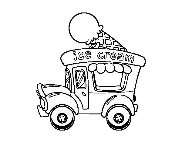 Dibujo de Food truck de helados para Colorear