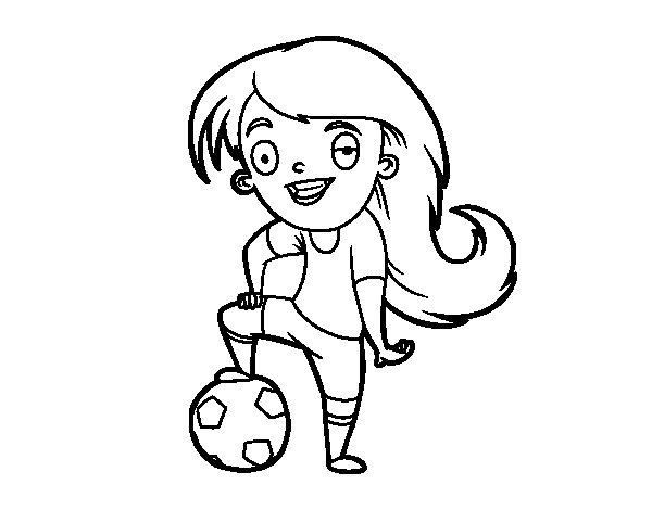Dibujo De Jugando A Fútbol Para Colorear: Dibujo De Fútbol Femenino Para Colorear