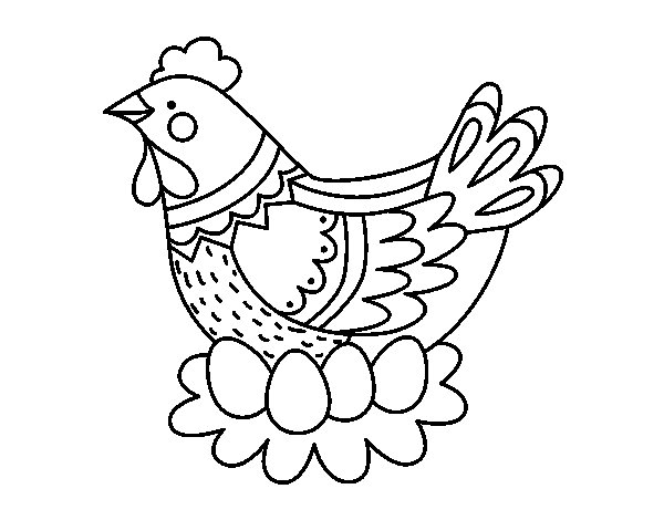 Dibujo de Gallina con huevos de Pascua para Colorear