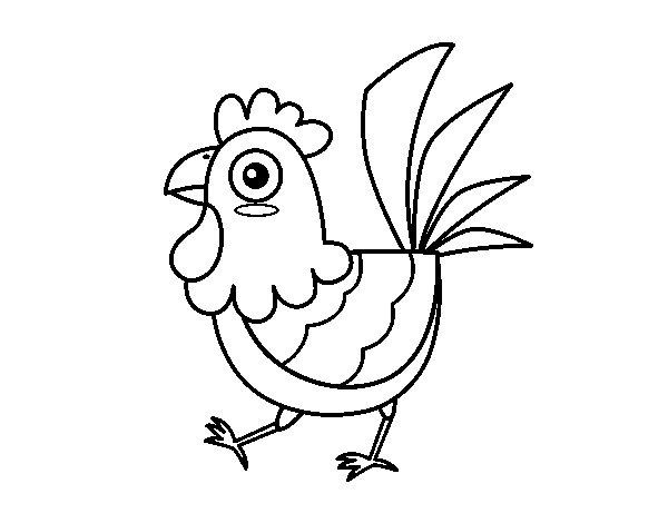 Dibujo de Gallina de granja para Colorear