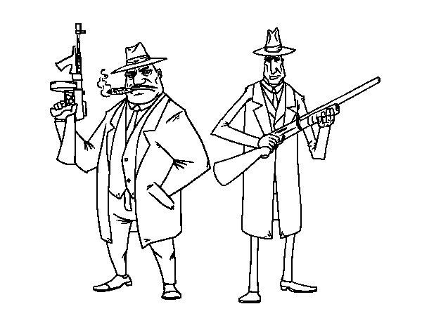 Dibujo de Gangsters para Colorear