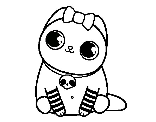 Dibujos Para Colorear De Gatitos Bebes: Dibujo De Gatito Emo Para Colorear