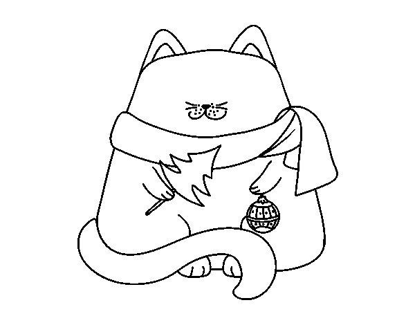 Dibujo de Gato con adornos navideños para Colorear
