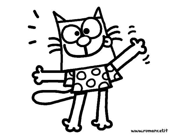 Dibujo de gato con camiseta para colorear - Dibujos para pintar camisetas infantiles ...