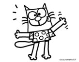 Dibujo de Gato con camiseta para colorear