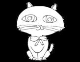 Dibujo de Gato con largo bigote para colorear