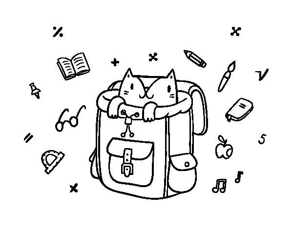 Dibujo de Gato dentro de una mochila para Colorear