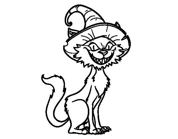 Dibujo de Gato embrujado para Colorear - Dibujos.net