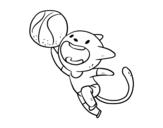 Dibujo de Gato jugando a baloncesto para colorear