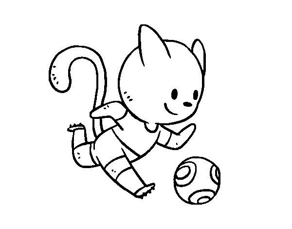Dibujo De Jugando A Fútbol Para Colorear: Dibujo De Gato Jugando A Fútbol Para Colorear