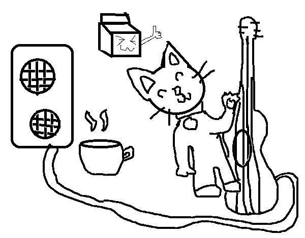 Dibujo de Gato rockero para Colorear