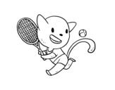 Dibujo de Gato tenista