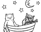 Dibujo de Gato y búho para colorear