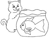 Dibujo de Gato y pez