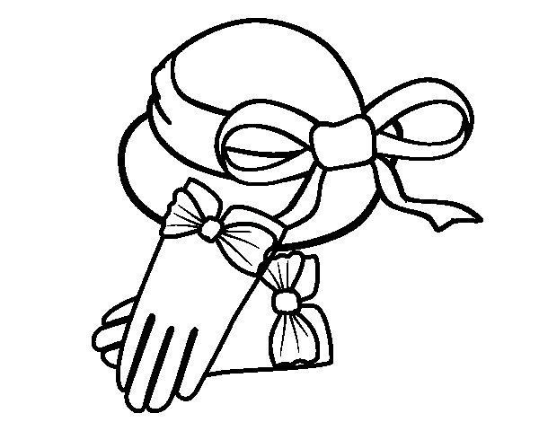 Dibujo de Guantes y sombrero para Colorear