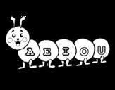 Dibujo de Gusano con vocales para colorear
