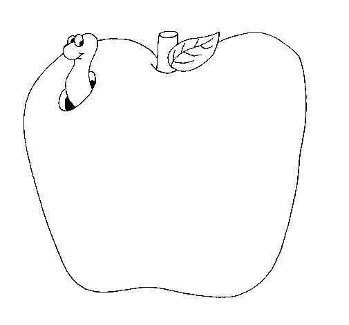 Dibujo de Gusano en la fruta para Colorear